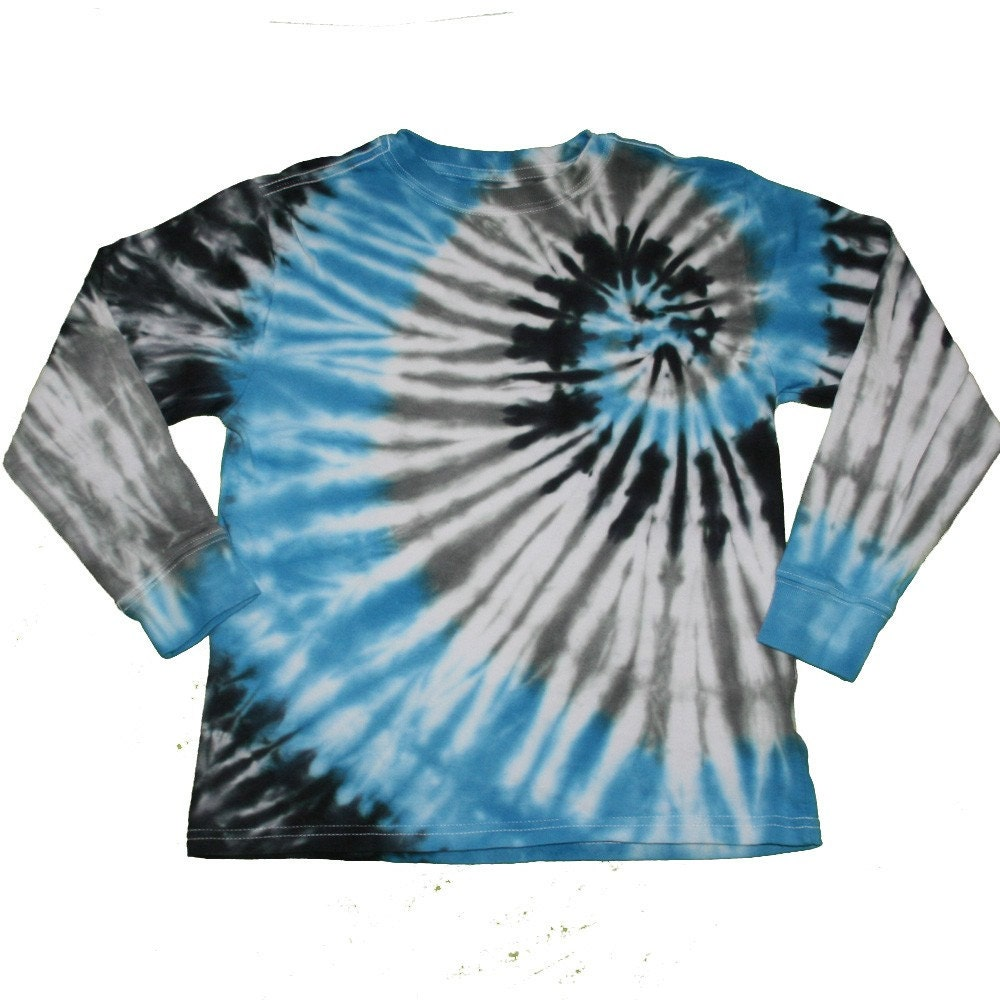 Tie dye boys shirt in blue black and gray by sparklepigdesigns for Black and blue tie dye t shirts