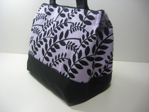 Insulated Lunch Bag Purse - Lavendar and Leaves DC-11