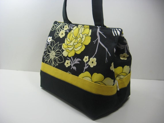 Insulated Lunch Bag Purse - Black and Lemon Yellow