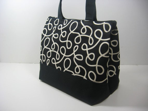 Insulated Lunch Bag Purse - Black and Cream