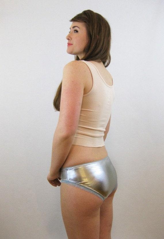 Silver Metallic Spandex Panties With Aqua Blue Trim Lingerie