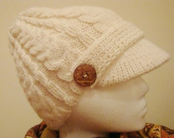 Cabled Newsboy Cap - Hand Knit