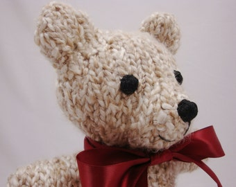Classic Hand Knit Teddy Bear  - 10 Inches Tall