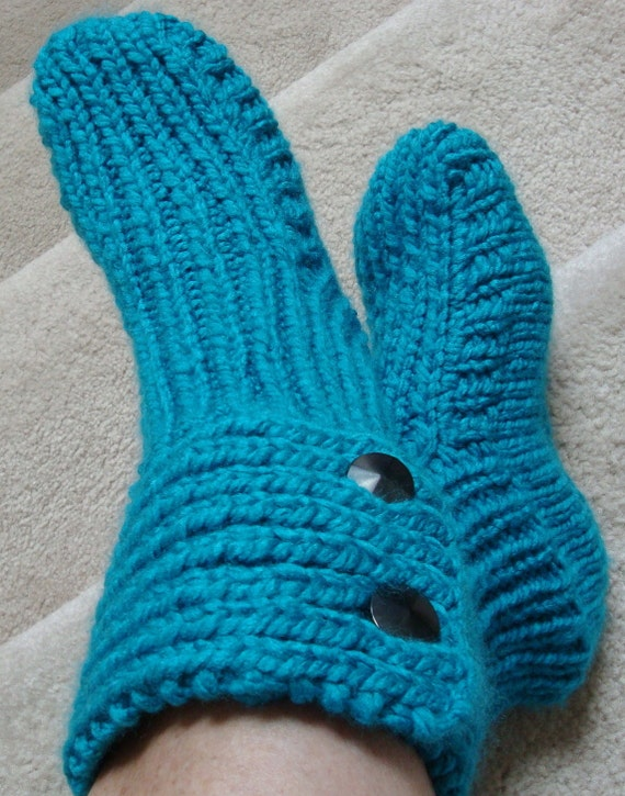 Boot Slipper Socks - Womens and Teens - Size med / large - Turquoise Blue