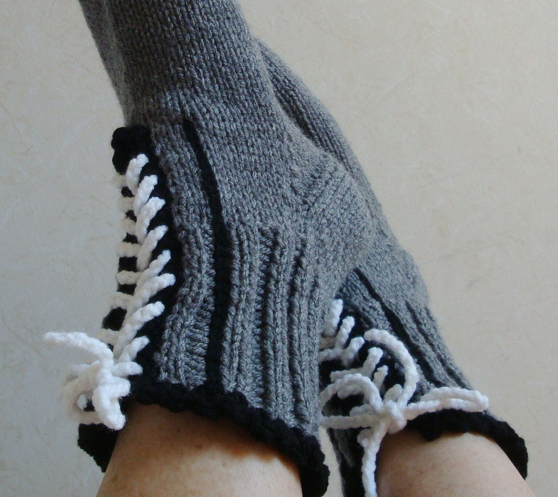 Knitting Women S Socks : Knit women mens slipper socks ankle boot womens
