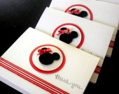 20 Red and White Minnie Mouse Birthday Thank you Notecards Baby Shower Thank you Note Cards reserved for Carla