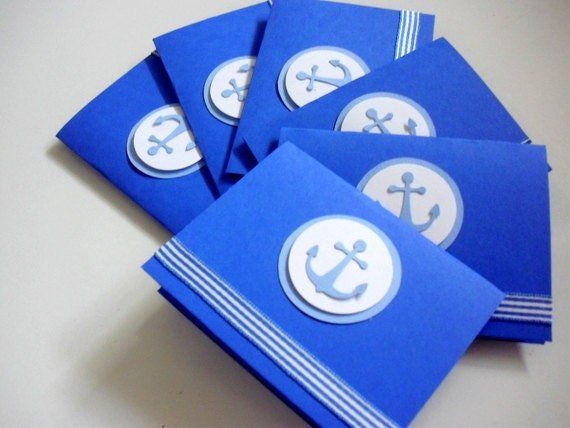 6 Anchor, Nautical Birthday party Invitation, Ship, Summer Birthday, Baby Boy Shower, Thank you cards, Children's Birthday Party Invite,