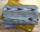 Zippered Pouch-Blue Faux Bois