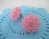 SALE Transluscent pink chrysanthemum earring studs FREE DOMESTIC SHIPPING