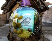 Finch Bird and Tree Glass Ornament - Blue Green