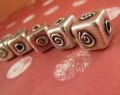 FIVE FUN ONES Fine Silver Spiral Motif Square Handmade Bead Set