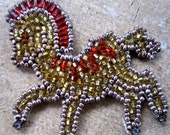 Vintage Beaded  carousel  horse applique  sequin handmade patch sewing supplies