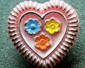 Valentine Day heart Czech Buttons Valentine's Heart  Pink Heart Button Glass   self shank sewing supplies  3 buttons