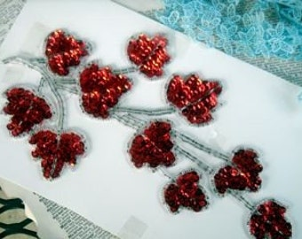 vintage  red sequin leave embellishment handmade red and silver