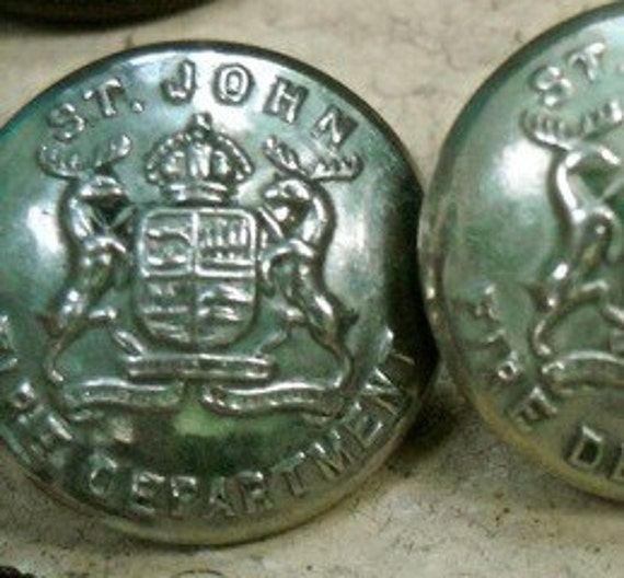 St John Police Canadian police buttons elk shield coat of arms crown vintage heavy brass
