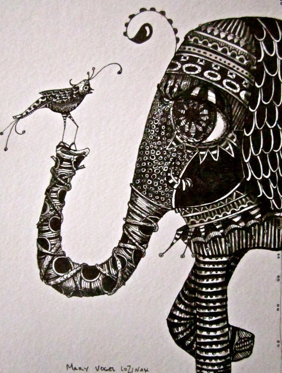Illustration elephant and bird Art Prints by Mary Vogel Lozinak srajd zentangle zen tangle10x14 inches