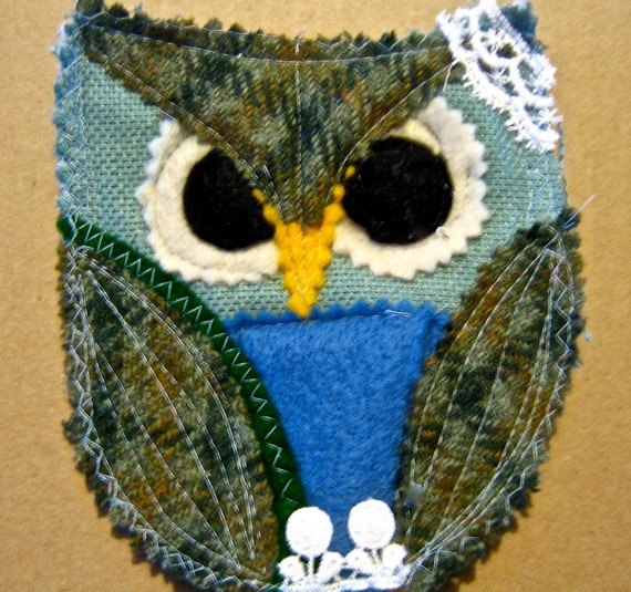 Vintage wool Owl Coaster    Quilted hot pad OWL or Drink coaster mug mat   handmade fabric kitch tateam