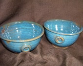 Pair Handthrown Stoneware Bowls