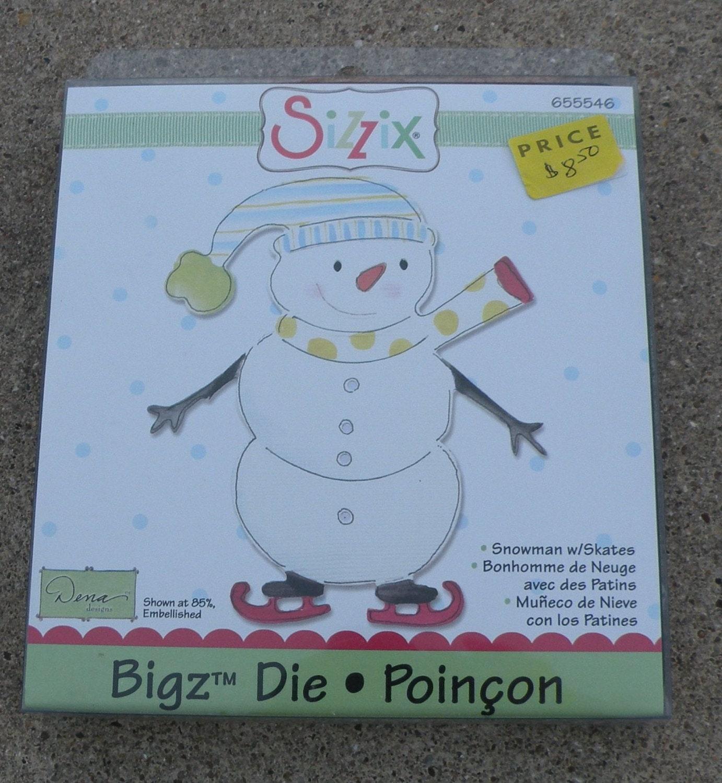 Sizzix die cut mod le bonhomme de neige avec patins - Modele bonhomme de neige ...