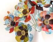 """Paper Flower Bouquet - Patterned Brights Red Green Brown Blue 12"""" stems 15 flowers"""