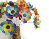 "Paper Flower Bouquet - Kaleidoscope of Color 12"" stems 12 flowers"