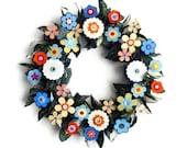 "Wreath - 16"" Summer Paper Flowers Blue Yellow, Orange"