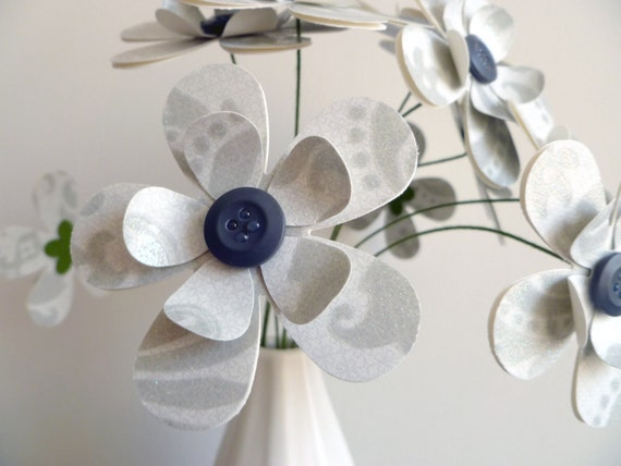 RESERVED FOR LANI - Paper Flower Bouquet - White and Dove Gray Floral Sparkle