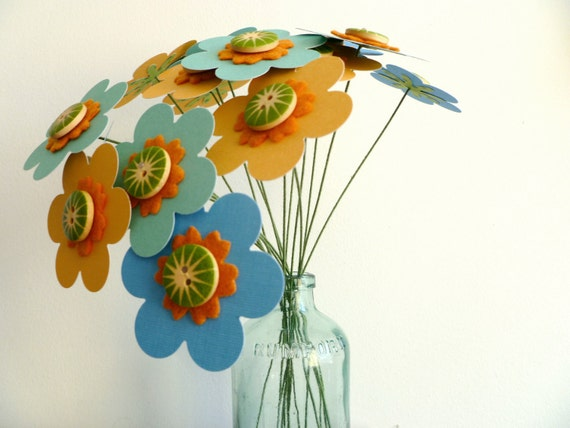 """Paper Flower Bouquet - Sunny Skies 16 stems Blue and Yellow 9"""""""