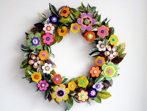 Wreath Paper Felt Flowers - Tropical Colors