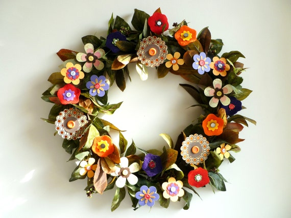 Wreath - Autumn Fall Paper Flowers