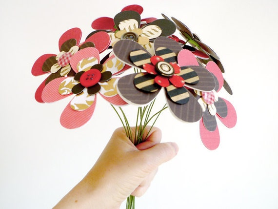 Paper Flower Bouquet - Red Black Gold