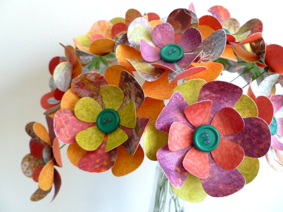 "Paper Flower Bouquet - Tropical Bright Colors Green Buttons - 15 stems 12"""