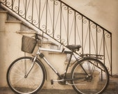 School Days, 8x8 inches fine art photograph, nostalgic street scene in sepia tones, bicycle and old stairs