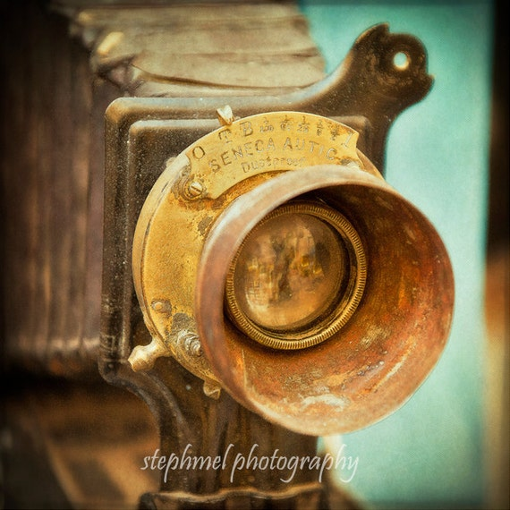 Focus on, 6x6 inches fine art photography print, nostalgic street scene, old camera