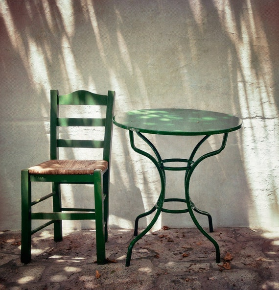 A place in the shade, 6x6 fine art photograph, little cafe in a greek island