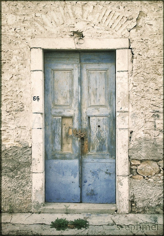 The Blue Door, 8,5x11 fine art photograph, greek town, old house, decay, travel photography