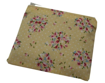 Floral Posy Print Cotton Coin Purse in Yellow, Pink and White - Disty & Vintage