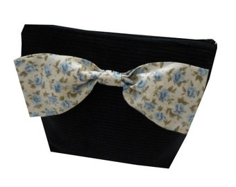 Floral Print Corduroy Make Up Bag With Oversize Bow in Navy, Cream and Blue - Vintage & Ditsy