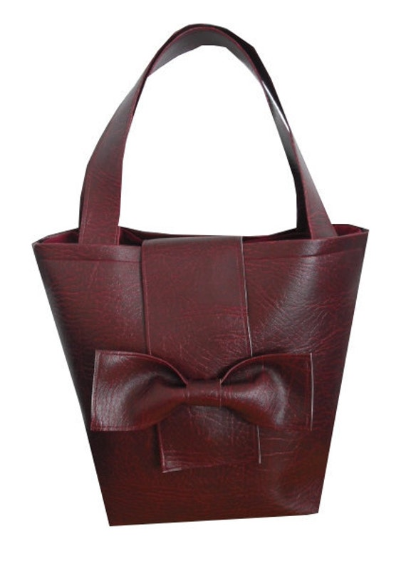 Faux Leather Leatherette Mini Tote Bag With Oversize Bow Detail in Burgundy - Vintage & Kitsch