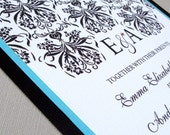 Wedding Invitation Sample Package - Grace Design in Turquoise with Swarovski Crystal Option