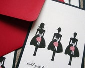 Will You Be My Bridesmaid Cards, Red with Swarovski Crystal, Set of 6
