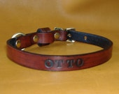 Small Dog Or Cat Custom Leather Name and Phone Number Collar 1/2 inch width with choice of 16 Colors and Letters
