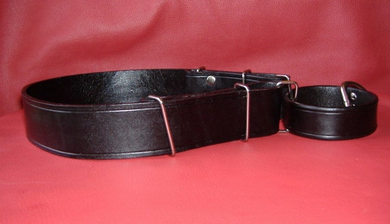 Custom 1.5 inch or 2 inch width Leather Martingale Collar with both Sides Adjustable, Choice of 16 Colors, All Leather No Chain