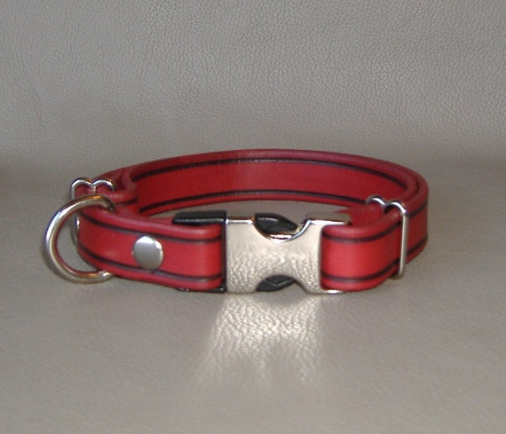 SALE Ready Made Victory Red 3/4 inch width, Adjustable Leather Collar with Quick Release Buckle Fits from 16 to 20 inches