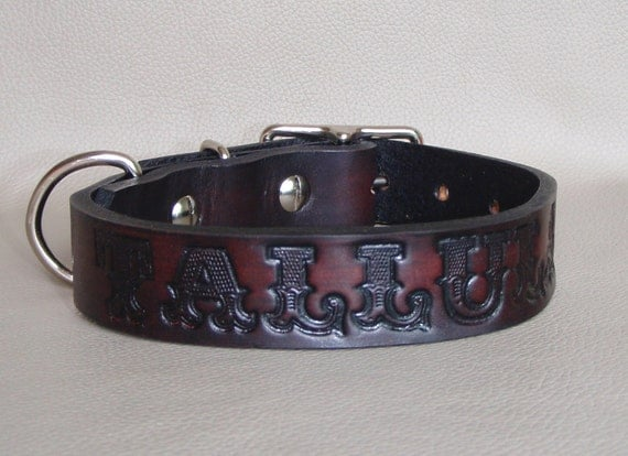 Custom Name 1 inch width Leather Collar with Choice of 16 Colors and Letters