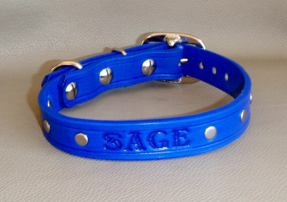 Custom Name Sapphire Blue 3/4 inch width Leather Collar with Silver Studs,Choice of Letters and 16 Colors