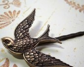 Free shipping. Bird. Brass Sparrow Bobby pin- Multiples discount available