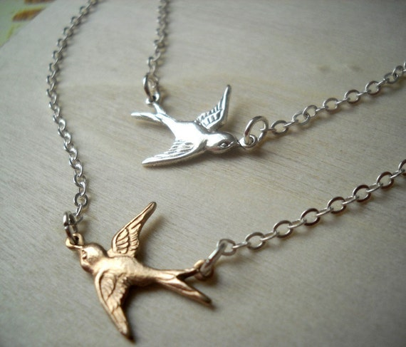 Double Chained Sparrow. Gold and Silver Bird Necklace.