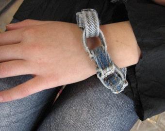 His Her DENIM Chain BRACELET by Marjolaine Bourgeois