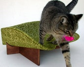 Modern Cat Bed in Avocado Brocade